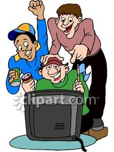 225x300 Male Sports Fans Watching A Game On Television Royalty Free