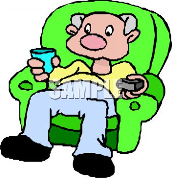 338x350 Man Watching Television In His Easy Chair