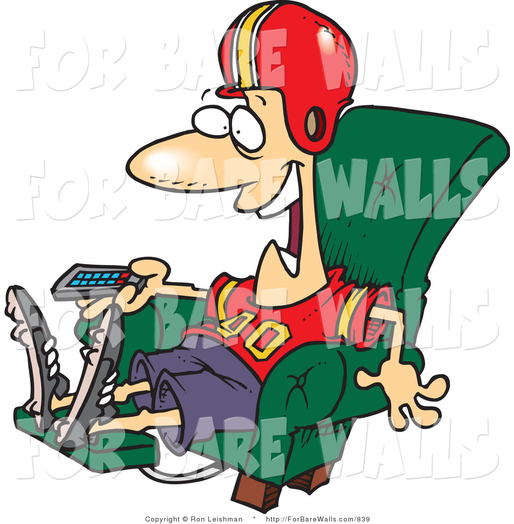 1024x1044 Printable Illustration Of A Football Fan Watching The Game On TV