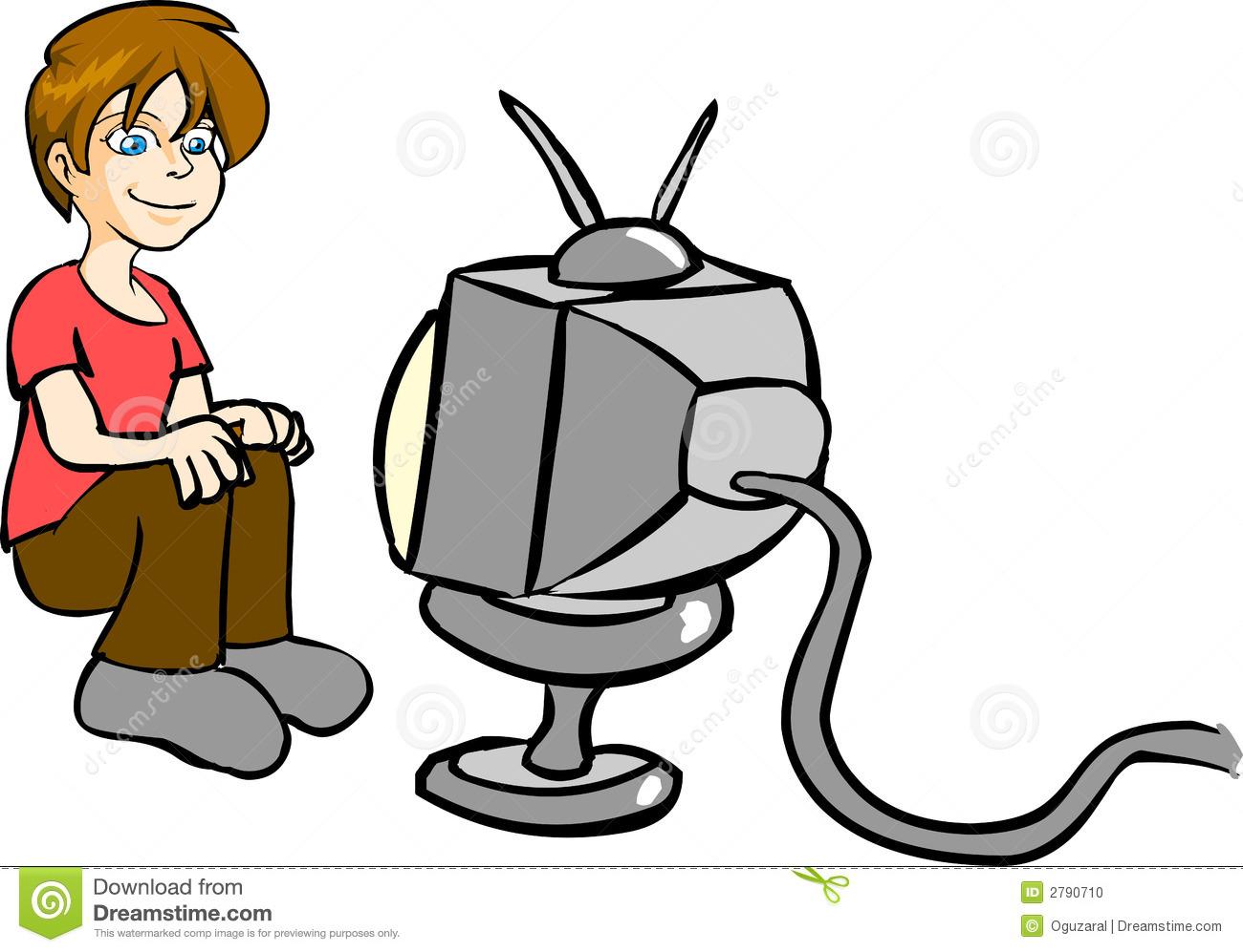 1300x997 Boy Watching Tv Clipart