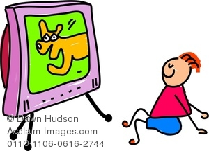 300x218 Clipart Image Of A Happy Little Boy Sat Watching The Television