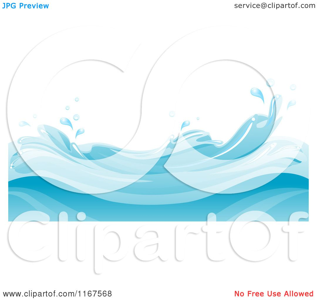 1080x1024 Cartoon of a Background of Blue Water and Splashing Waves
