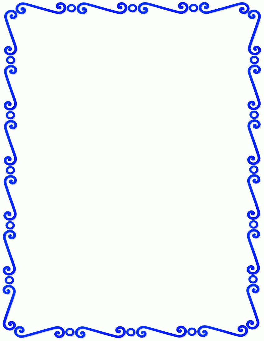 850x1100 Blue Border Clipart