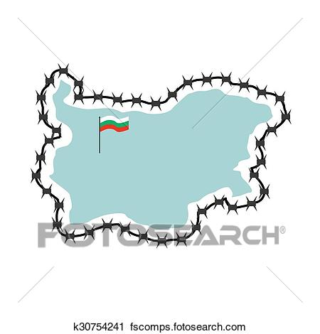 450x470 Clipart of Map Of Bulgaria. Map of States with barbed wire