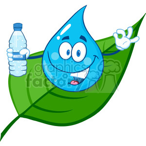 300x300 Royalty Free 6240 Royalty Free Cliprt Smiling Water Drop On