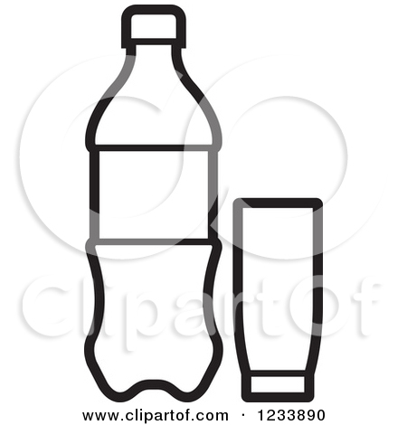 450x470 Plastic Water Bottle Black And White Clipart