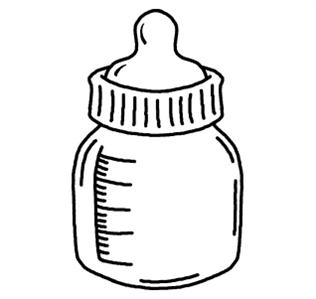 316x299 Black amp White clipart bottle