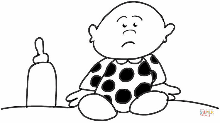 750x421 Sad Baby With His Bottle Coloring Page Free Printable Coloring Pages