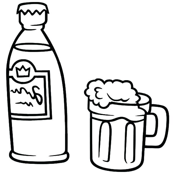 600x630 Beer Coloring Pages A Bear Open The Beer Bottle For New Year Party