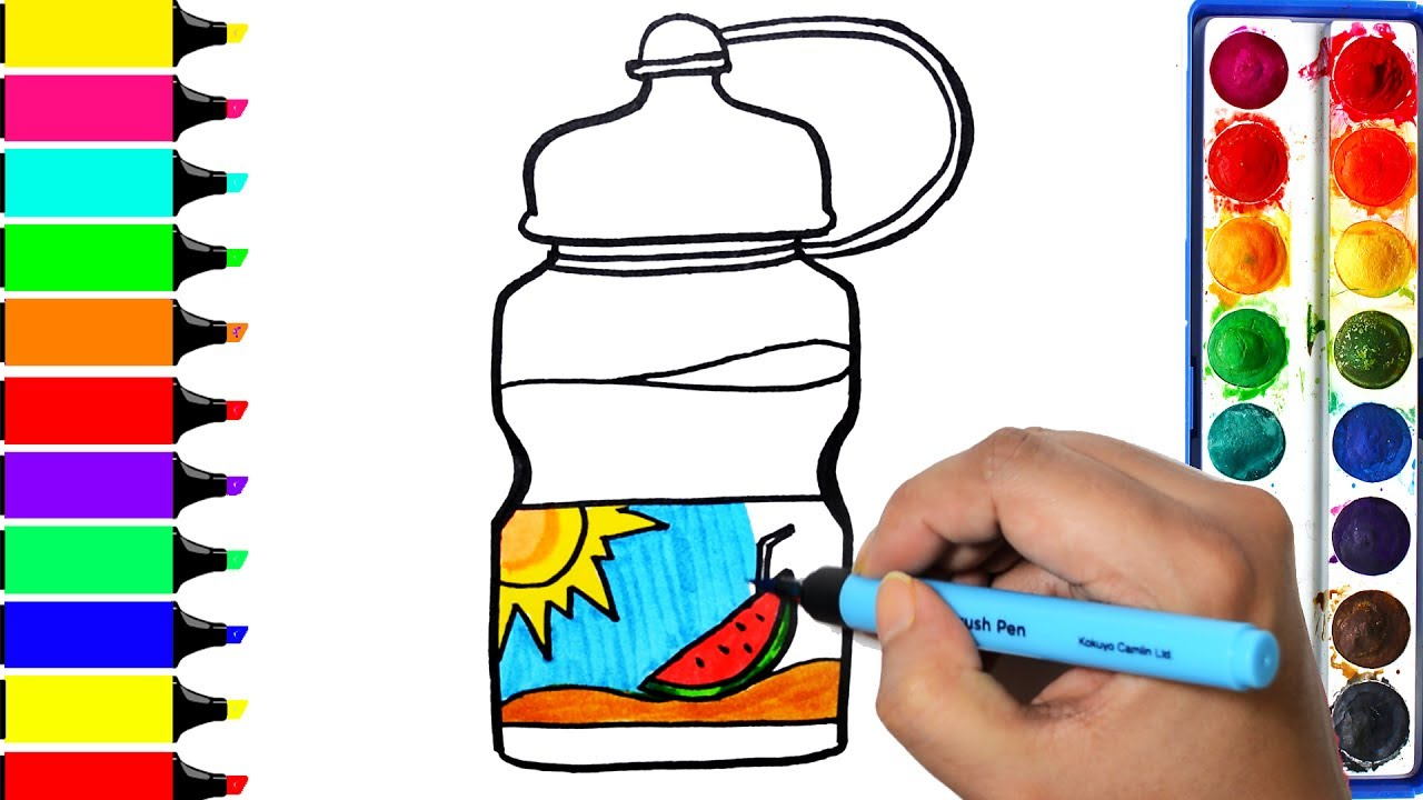 1280x720 Water Bottle Coloring Page Drawing Sun Watermelon Sipper Learn