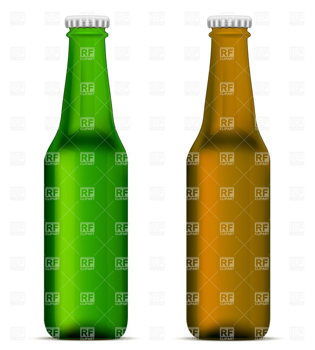 1083x1200 Green And Brown Beer Bottles Royalty Free Vector Clip Art Image