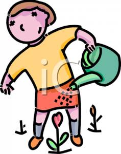 237x300 Art Image A Girl Using A Watering Can To Water A Pink Flower