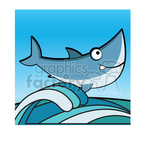 300x300 Royalty Free Cartoon Great White Shark Clip Art Jumping From Water