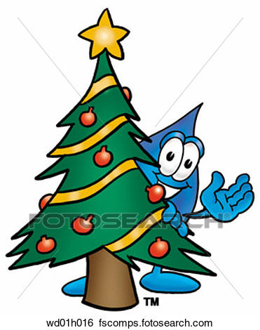 371x470 Clip Art Of Water Drop With Christmas Tree Wd01h016