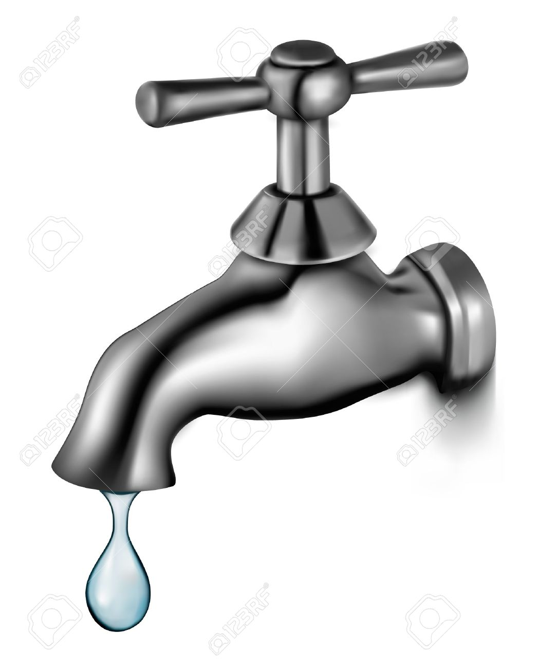 1082x1300 Water Tap With Drop Vector Illustration Royalty Free Cliparts