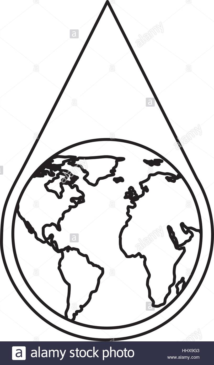 816x1390 Water Drop With Earth Planet Vector Illustration Design Stock