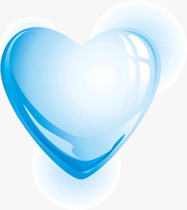 650x731 Heart Shaped Water, Blue Water Drops Vector Material, Blue, Drop