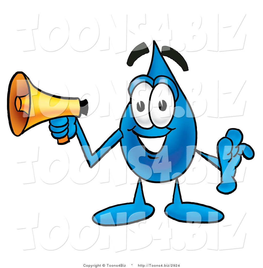 1024x1044 Illustration Of A Cartoon Water Drop Mascot Holding A Megaphone By