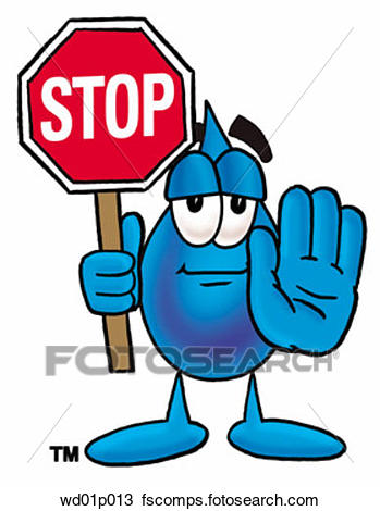 349x470 Clipart Of Water Drop With Stop Sign Wd01p013