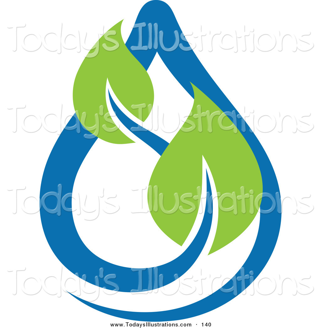 1024x1044 Clipart Of A Green Leaves And Blue Water Drop Ecology Logo Icon By
