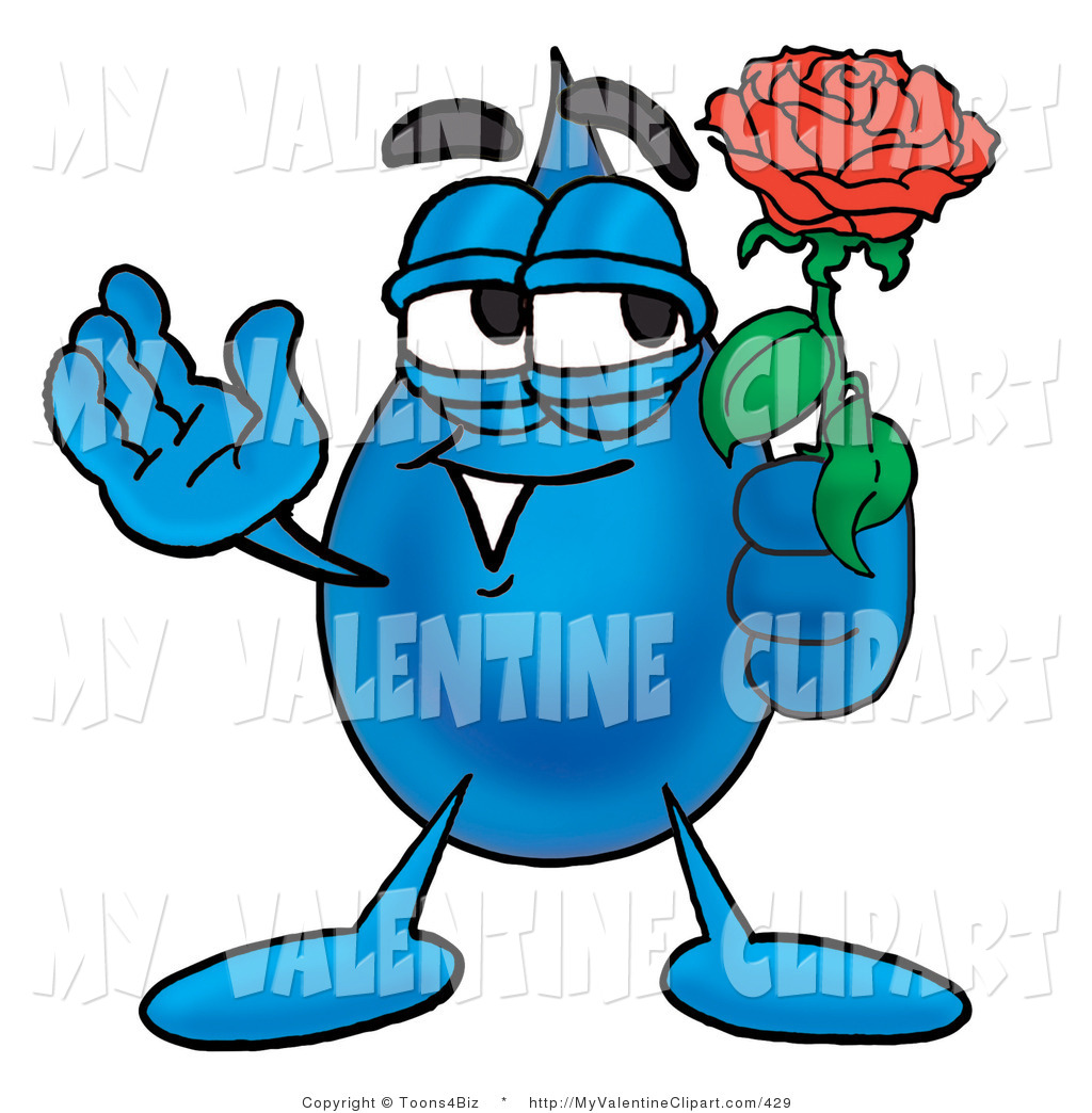 1024x1044 Valentine's Clipart Of A Sweet Water Drop Mascot Cartoon Character