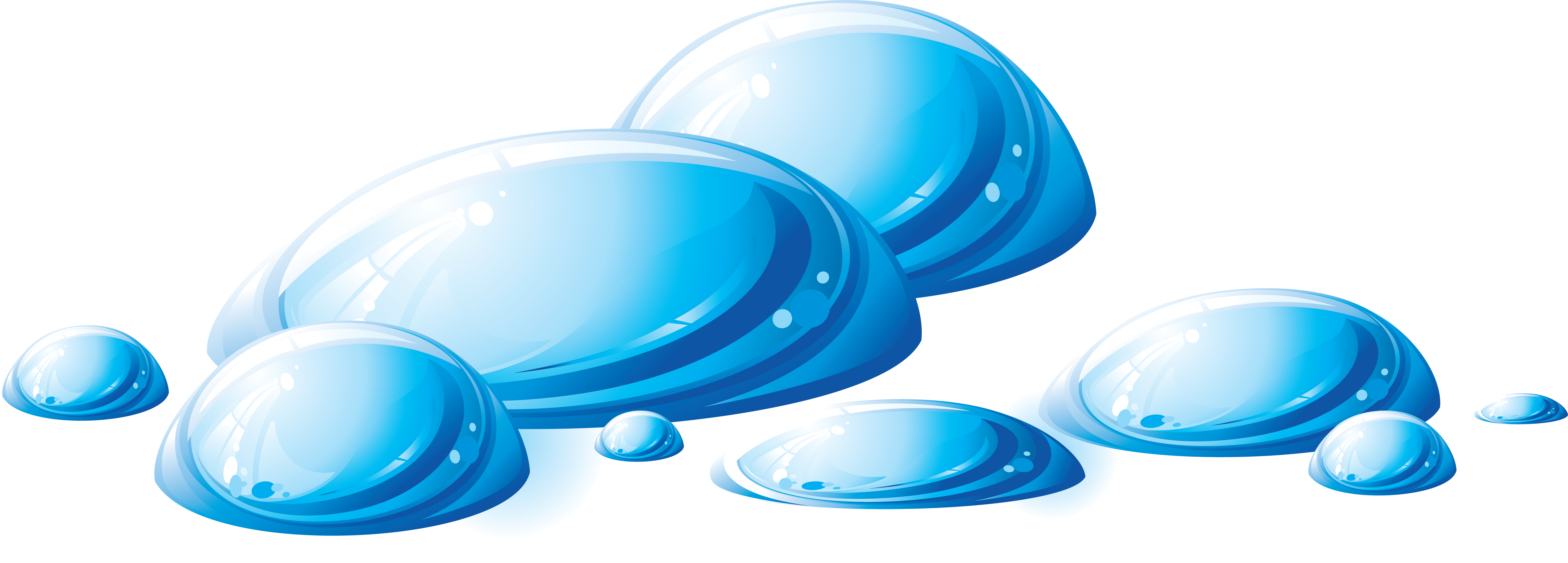 5886x2112 Water Droplets Clipart Single Drop