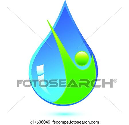 450x438 Clip Art Of Water Drop And Healthy Man Logo K17506049