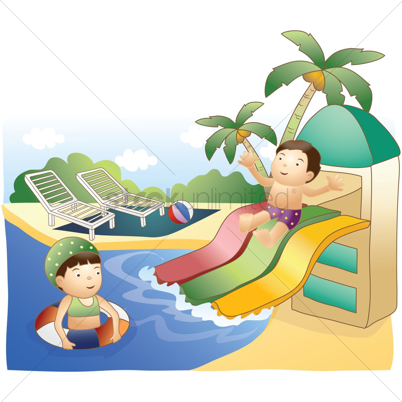 1300x1300 Kids Having Fun In Waterpark Vector Image