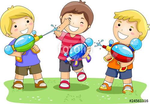 500x345 Children Playing With Water Gun In The Park Stock Image