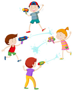 241x300 Children Playing With Water Gun Illustration Royalty Free Stock