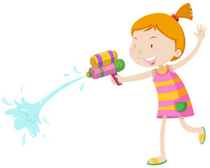 300x241 Girl Playing With Water Gun Illustration Royalty Free Stock Image