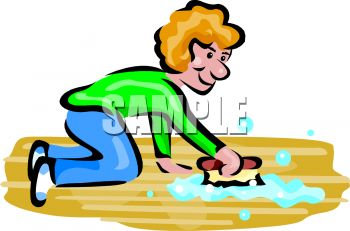 350x231 Royalty Free Clip Art Image Woman Washing A Floor With A Scrub Brush