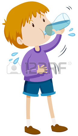 259x450 Boy Drinking Water From Bottle Illustration Royalty Free Cliparts