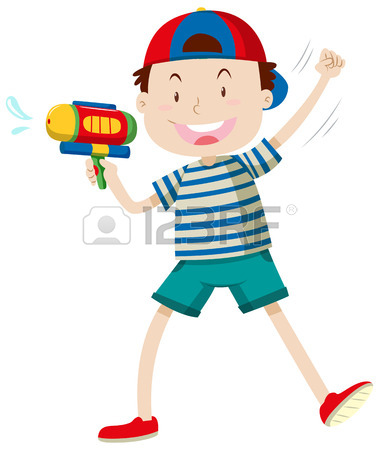 379x450 Children Playing With Water Gun Illustration Royalty Free Cliparts