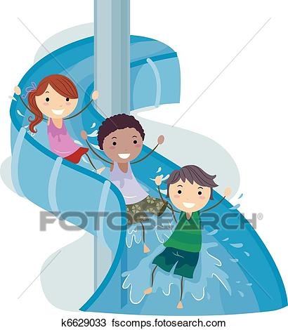 410x470 Water Slide Clip Art Vector Graphics. 561 Water Slide Eps Clipart