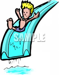 235x300 Art Image A Cartoon Boy Sliding Down A Blue Water Slide