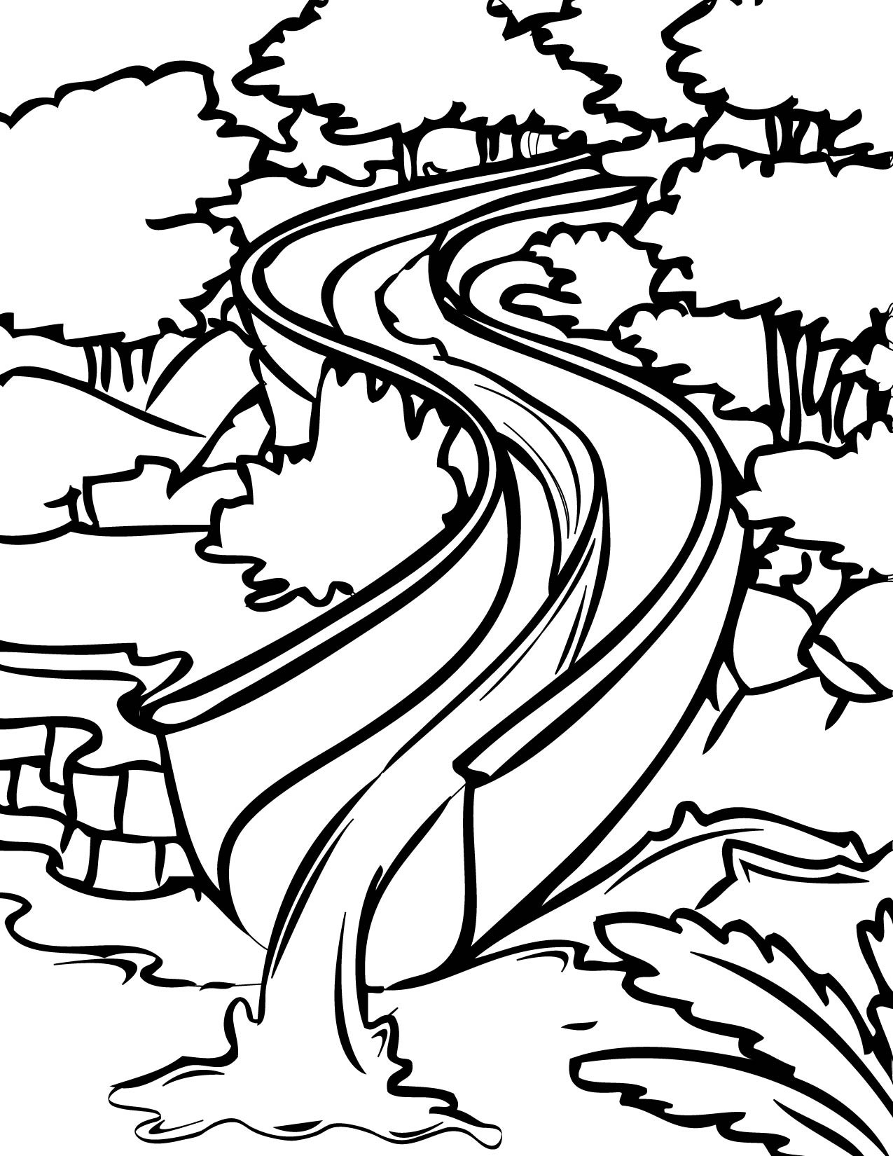 1275x1650 Water Slide Clipart Black And White