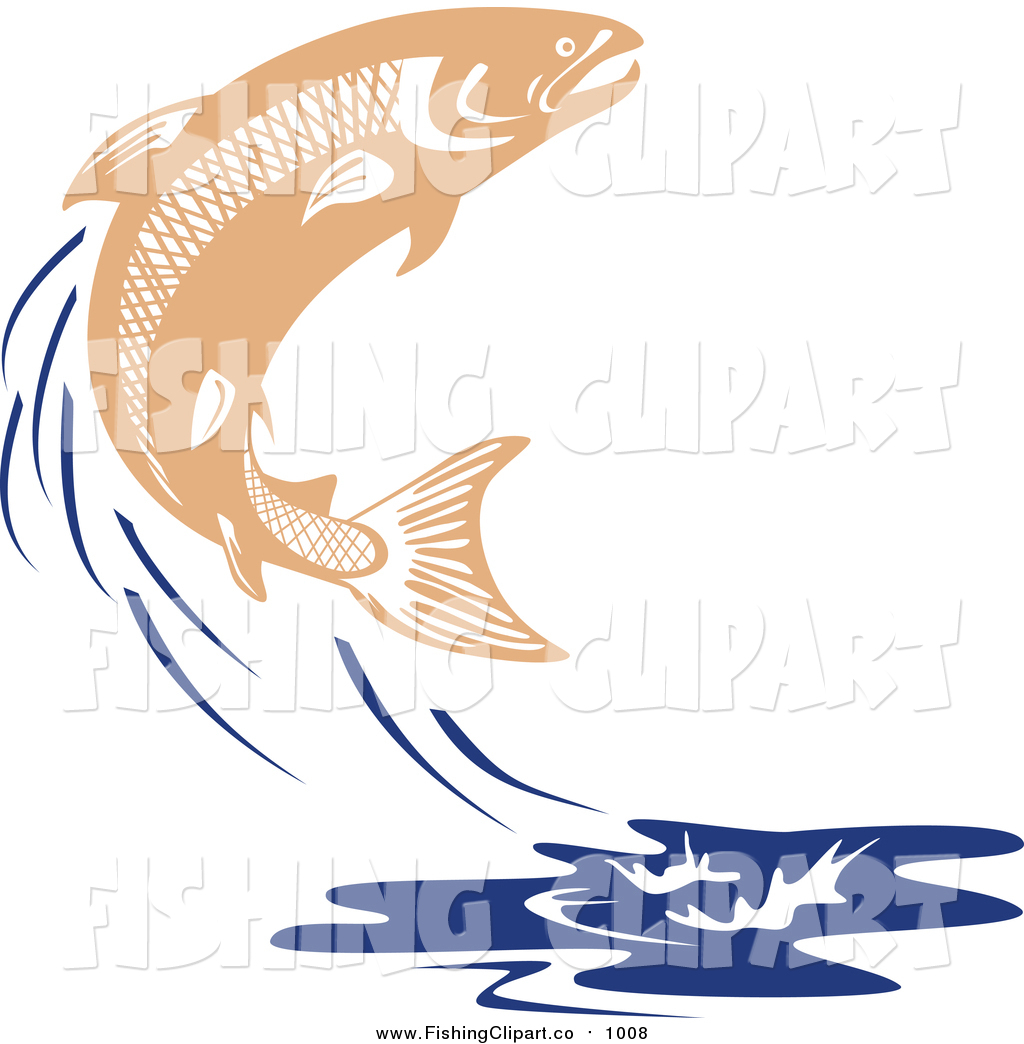 1024x1044 Clip Art Of A Leaping Salmon Fish And Blue Water Splash By