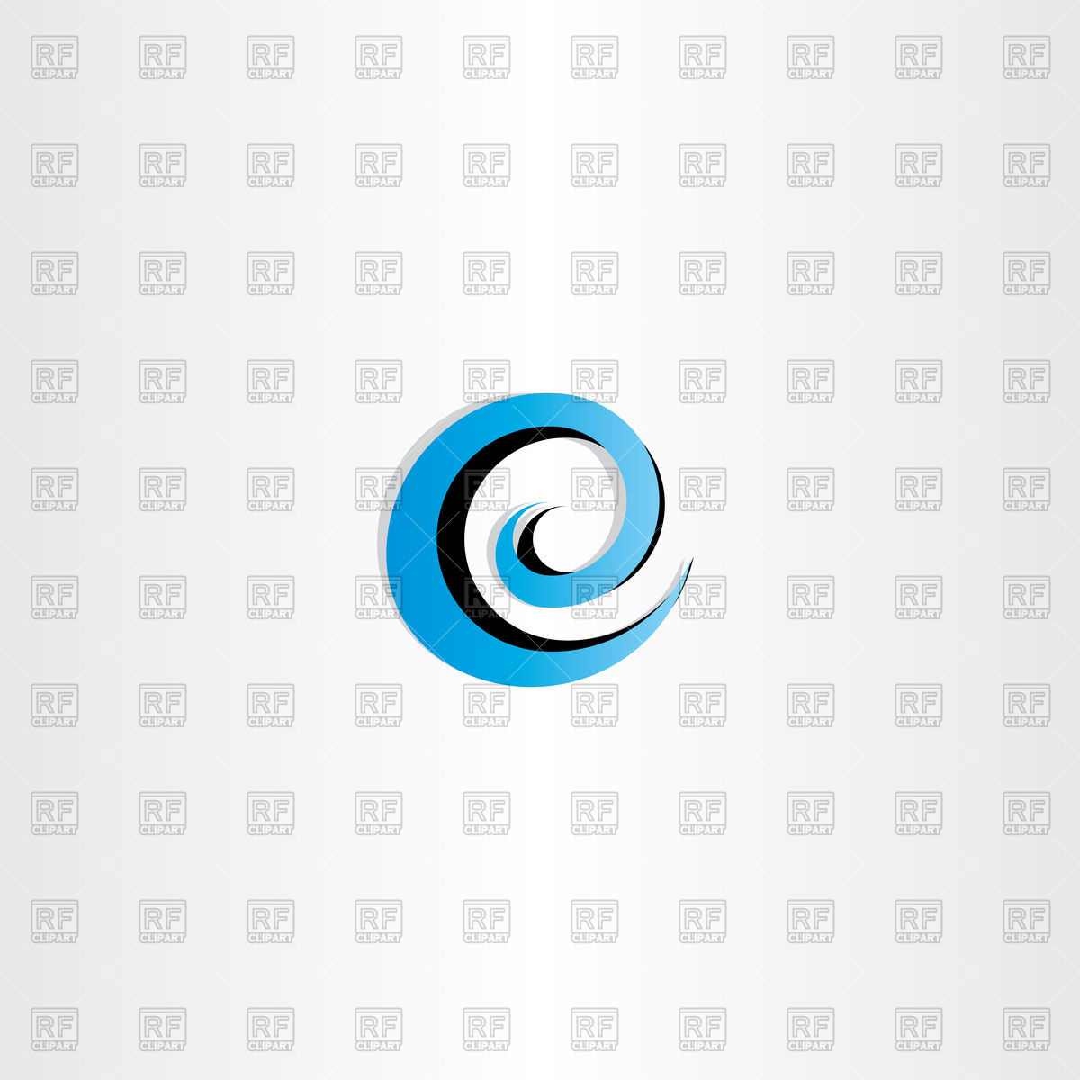 1200x1200 Letter e water wave spiral icon Royalty Free Vector Clip Art Image