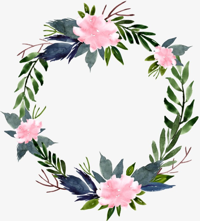 650x719 Watercolor Flower Ring Round Border, Round, Frame, Watercolor Png