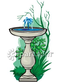 263x350 Royalty Free Clip Art Image Bird Bath With A Bubbling Fountain