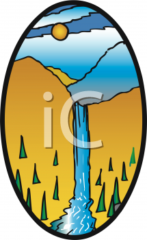 215x350 Scenic Clipart Waterfall
