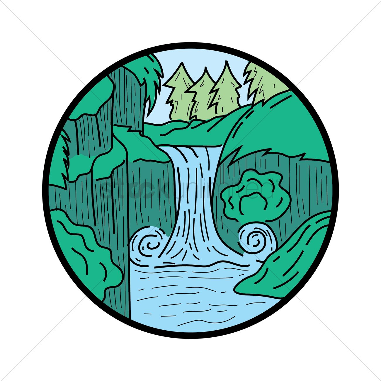 1300x1300 Waterfall Vector Image