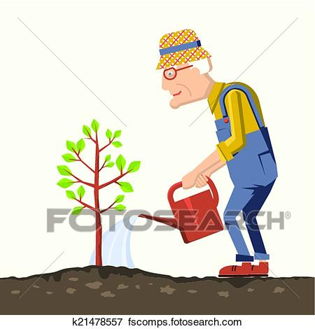 450x470 Clip Art Of Old Man Gardener With Watering Can K21478557