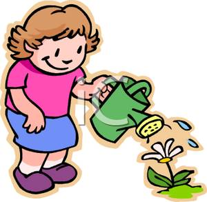 300x293 Art Image A Smiling Girl Watering A Flower
