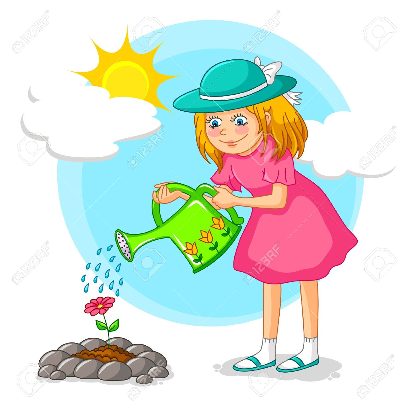 1300x1291 Girl Watering A Flower In The Garden Royalty Free Cliparts