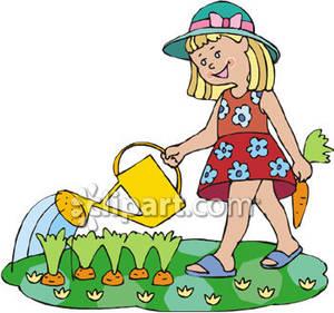 300x281 Girl Watering Carrots In A Garden