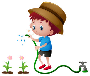 300x252 Illustration Of A Boy Watering The Plants In A Garden Royalty Free