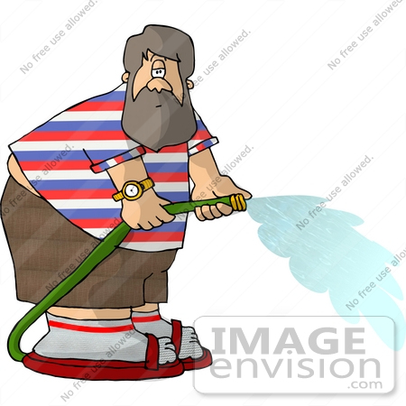 450x450 Man Watering With A Green Garden Hose Clipart
