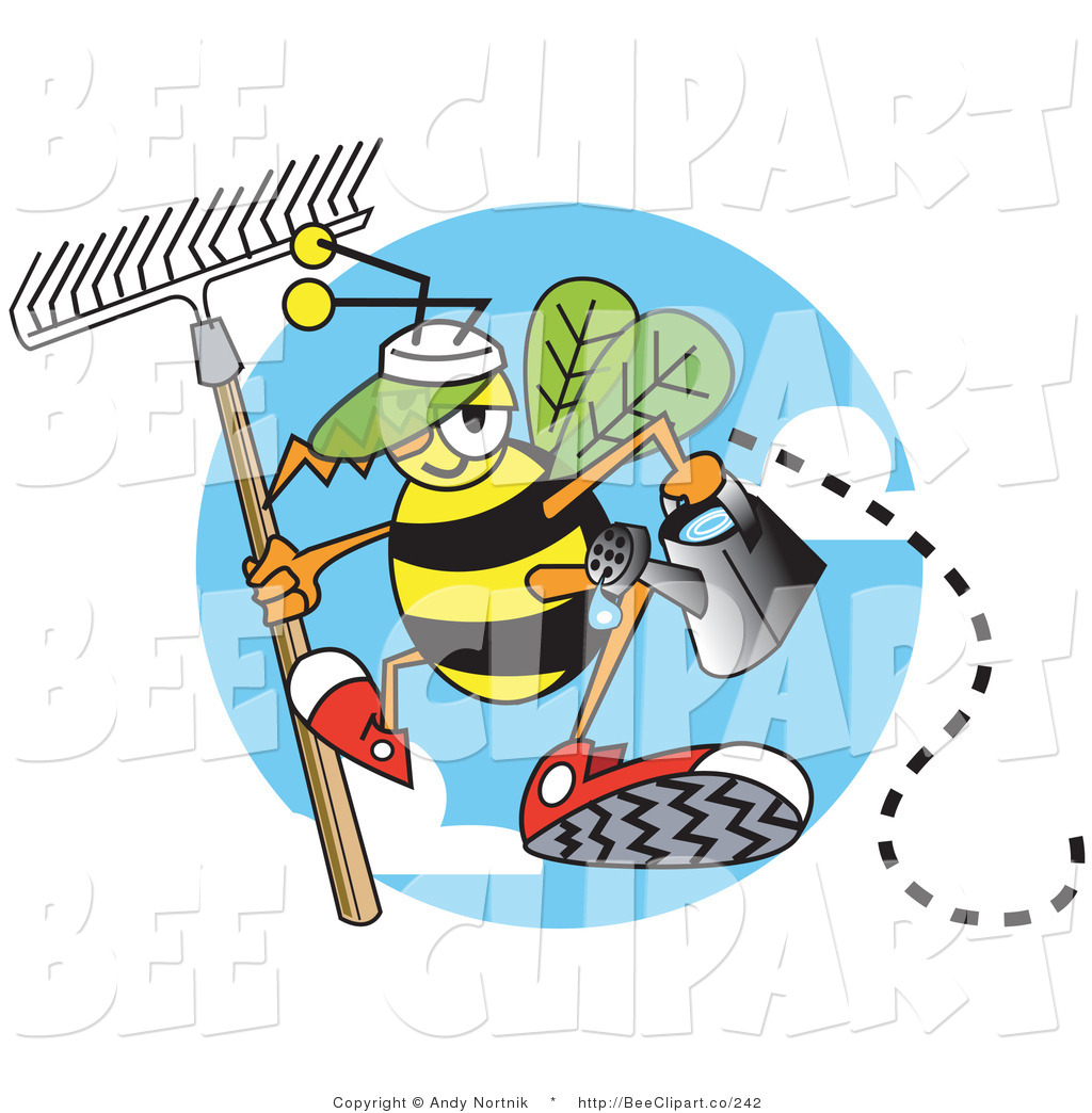 1024x1044 Vector Clip Art Of A Yellow Worker Bee Carrying A Rake